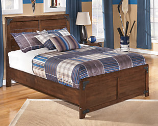 Delburne Full Panel Bed, Medium Brown, rollover