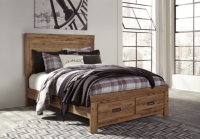 Panel Storage Bed Medium Brown King Product Photo 994