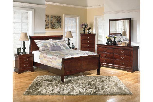 Alisdair Full Sleigh Bed, Dark Brown, large
