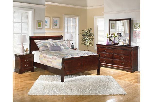 Alisdair Full Sleigh Bed with Mattress, Dark Brown, large