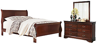 Alisdair Queen Sleigh Bed with Mirrored Dresser, Dark Brown, large