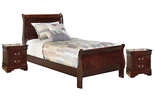 Alisdair Twin Bed with 2 Nightstands, Dark Brown, large