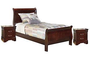 Alisdair Twin Sleigh Bed with 2 Nightstands, Dark Brown, large