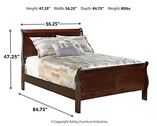 Alisdair Full Sleigh Bed, Dark Brown, large