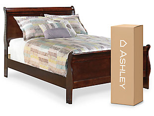 "Alisdair Full Sleigh Bed with 8"" Innerspring Mattress, Dark Brown, large"