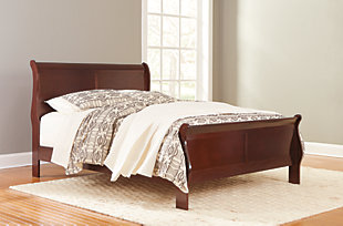 Alisdair Queen Sleigh Bed with Mattress, Dark Brown, rollover