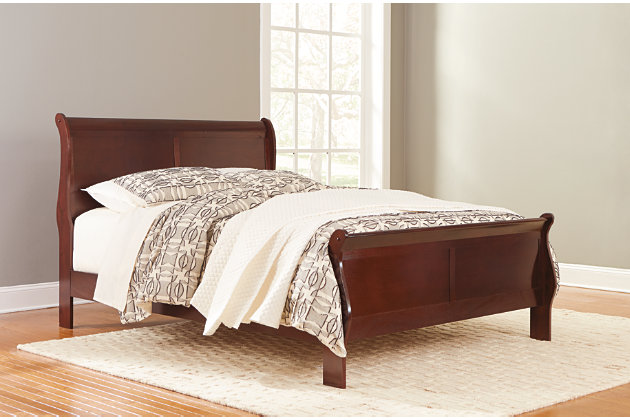 "Alisdair Queen Sleigh Bed with 8"" Memory Foam Mattress in a Box, Dark Brown, large"