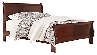 "Alisdair Queen Sleigh Bed with 8"" Innerspring Mattress, Dark Brown, large"