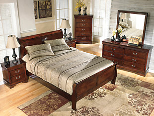 Alisdair Queen Sleigh Bed, Dark Brown, large