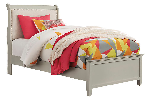 Jorstad Twin Sleigh Bed, Gray, large
