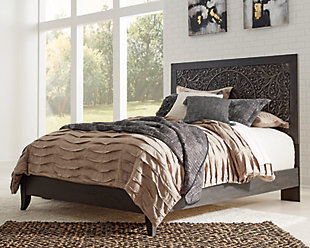 Paxberry Queen Panel Bed, Black, rollover