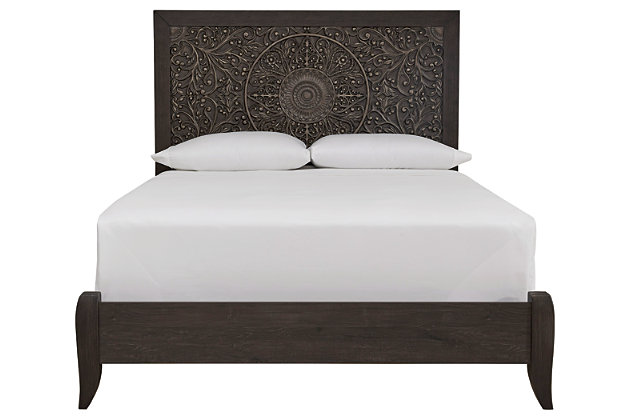 Paxberry Queen Panel Bed, Black, large