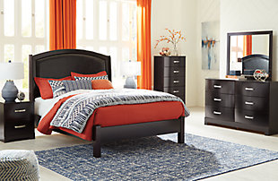Minota Queen Upholstered Sleigh Bed, Merlot, large