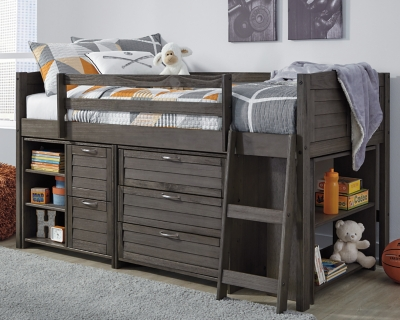 Caitbrook Twin Loft Bed with 1 Large Storage Drawer, , large