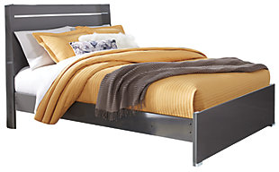 Steelson Queen Panel Bed, Gray, large