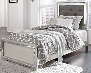 Lonnix Twin Panel Bed, Silver Finish, rollover