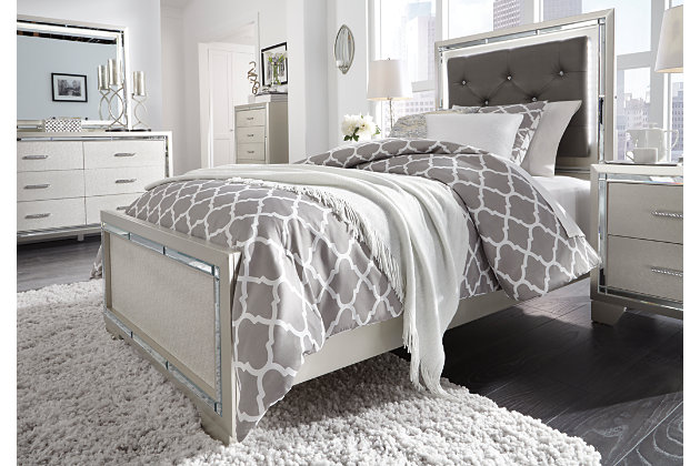 Lonnix Twin Panel Bed, Silver Finish, large