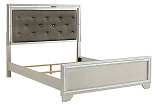 Lonnix Queen Panel Bed, Silver Finish, large