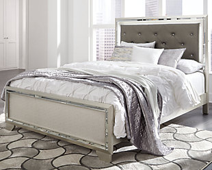 Lonnix Queen Panel Bed, Silver Finish, rollover