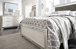 Lonnix Full Panel Bed, Silver Finish, large