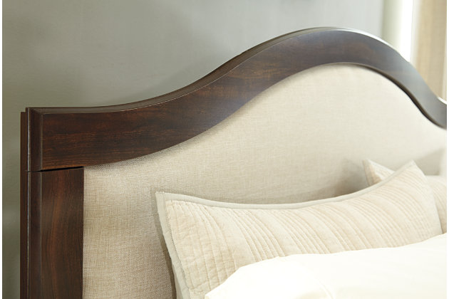 close up detail of corraya upholstered queen bed headboard