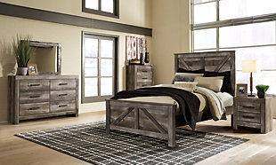 Wynnlow Queen Crossbuck Panel Bed with Dresser, Gray, large