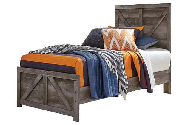 Wynnlow Twin Crossbuck Panel Bed, Gray, large
