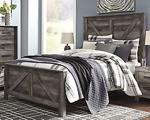 Wynnlow Queen Crossbuck Panel Bed with Dresser, Gray, rollover