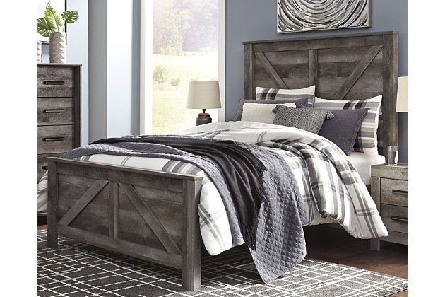 Wynnlow Queen Crossbuck Panel Bed, Gray, large