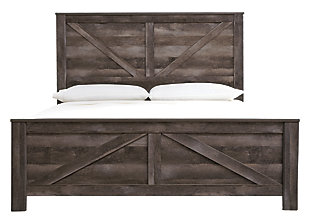 Wynnlow King Crossbuck Panel Bed, Gray, large