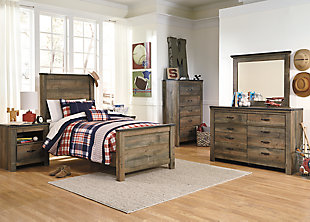 Trinell Twin Panel Bed, Brown, large