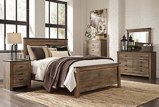 Trinell Queen Panel Bed, Brown, large