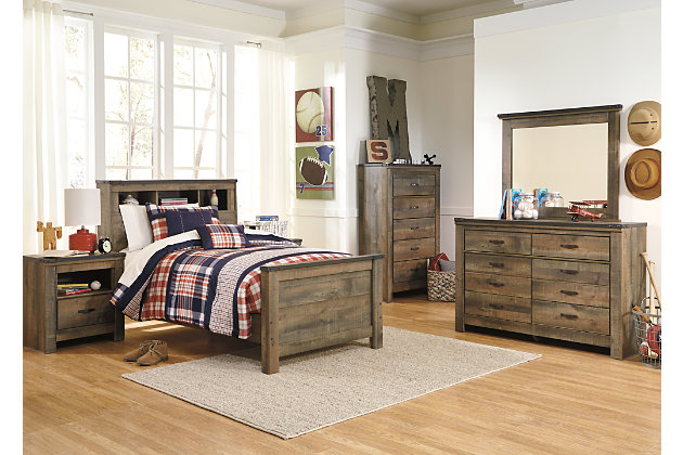 Trinell Twin Bookcase Headboard, Brown, large