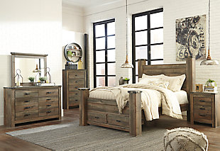 Trinell Queen Poster Bed with 2 Storage Drawers, Brown, large