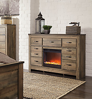 Trinell Dresser with Electric Fireplace, , large