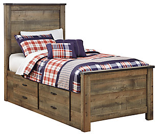Trinell Twin Panel Bed with 2 Storage Drawers, Brown, large