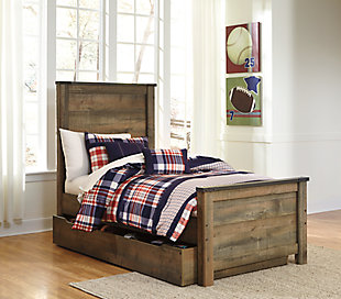 Trinell Twin Panel Bed with Storage, Brown, rollover