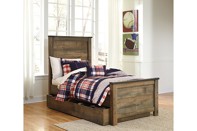Trinell Twin Panel Bed with Storage, Brown, large