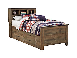 Trinell Twin Bookcase Bed with 2 Storage Drawers, , large