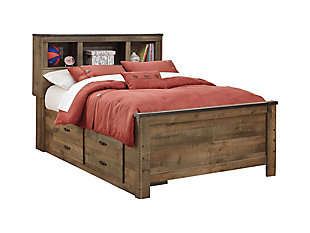 Trinell Full Panel Bed with 2 Storage Drawers, , large