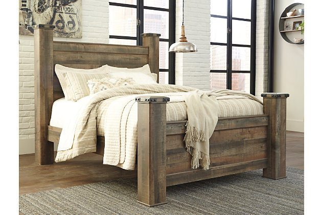 Trinell Queen Poster Bed, Brown, large