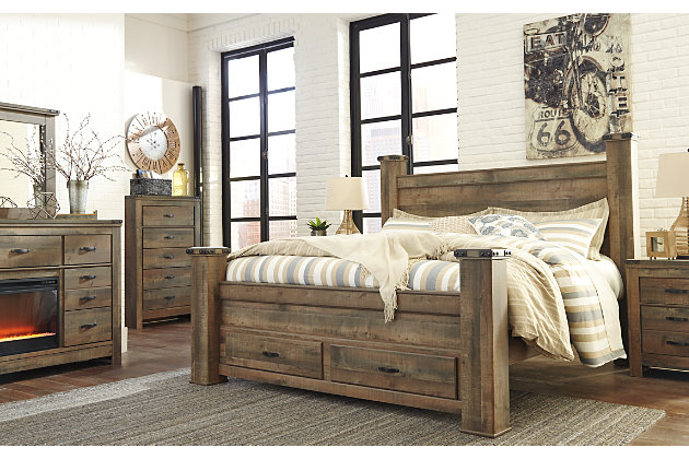 Trinell Queen Poster Bed with Storage, Brown, large