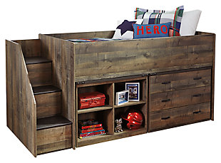 Trinell Twin Loft Bed with 3 Drawer Storage and Bookcase, , large