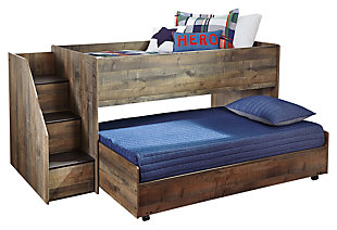 Trinell Twin Loft Bed with Pull-out Caster Bed, , large
