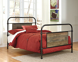 Trinell Twin Metal Bed, Brown, rollover