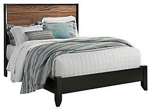 Stavani Queen Panel Bed, Black/Brown, large