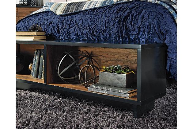 Stavani Queen Panel Bed with Storage, Black/Brown, large