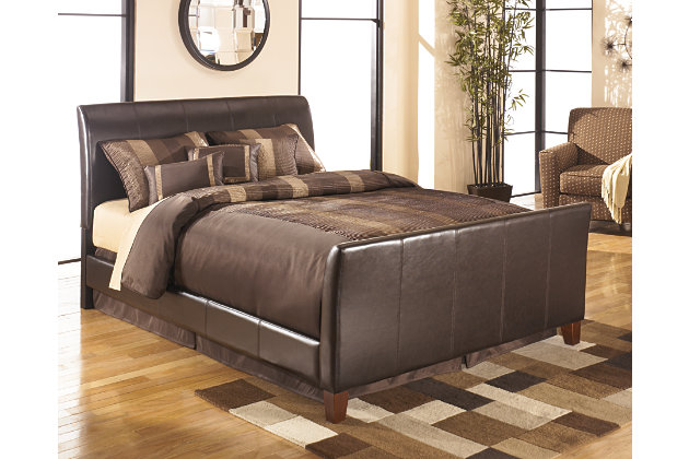 Faux Leather Bed Frame With Headboard Footboard And Rails