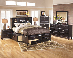 Kira Queen Storage Bed with 8 Drawers, Almost Black, large