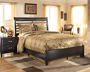 Kira Queen Panel Bed, Almost Black, rollover